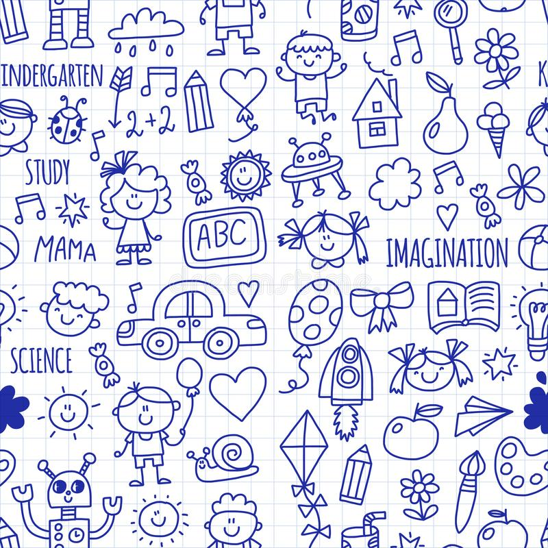 École sans couture de modèle, jardin d'enfants Enfants heureux Créativité, icônes de griffonnage d'imagination avec des enfants L illustration stock