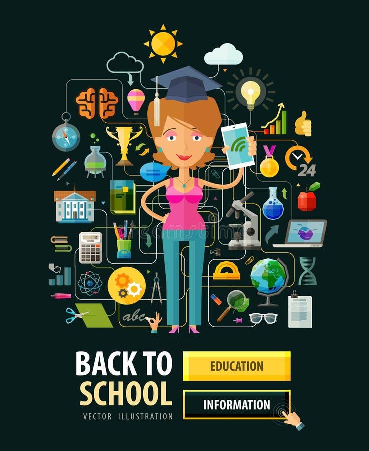 École, université, conception de logo de vecteur d'université illustration stock