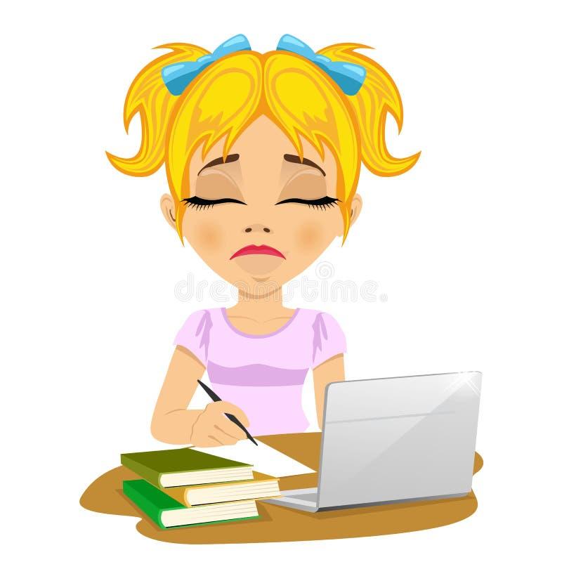 Écolière adolescente malheureuse faisant son travail avec l'ordinateur portable et les livres sur le bureau illustration de vecteur