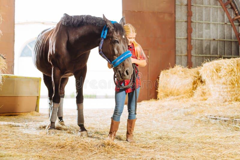 écolière aux cheveux blonds se penchant sur le beau cheval foncé photographie stock