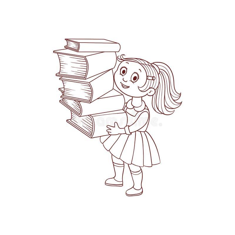 Écolière avec le caractère tiré par la main de bande dessinée de livres d'isolement sur le fond blanc illustration libre de droits