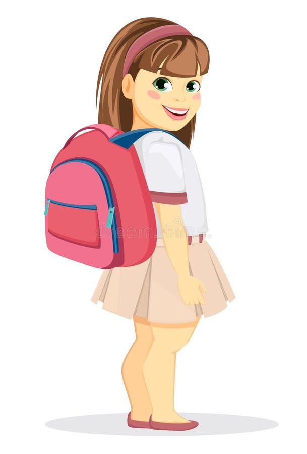 Écolière avec le sac à dos Revenir à l'école Gi de sourire mignon illustration libre de droits