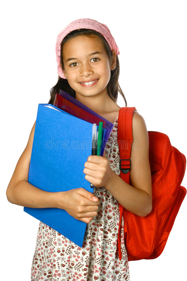 Écolière avec le sac à dos rouge image libre de droits
