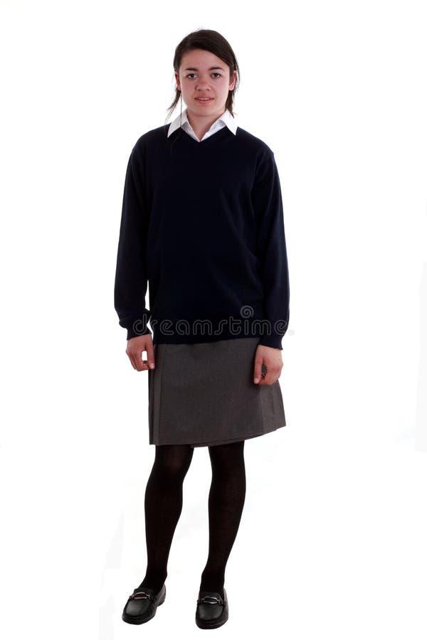 écolière de pose mélangée de chemin photographie stock