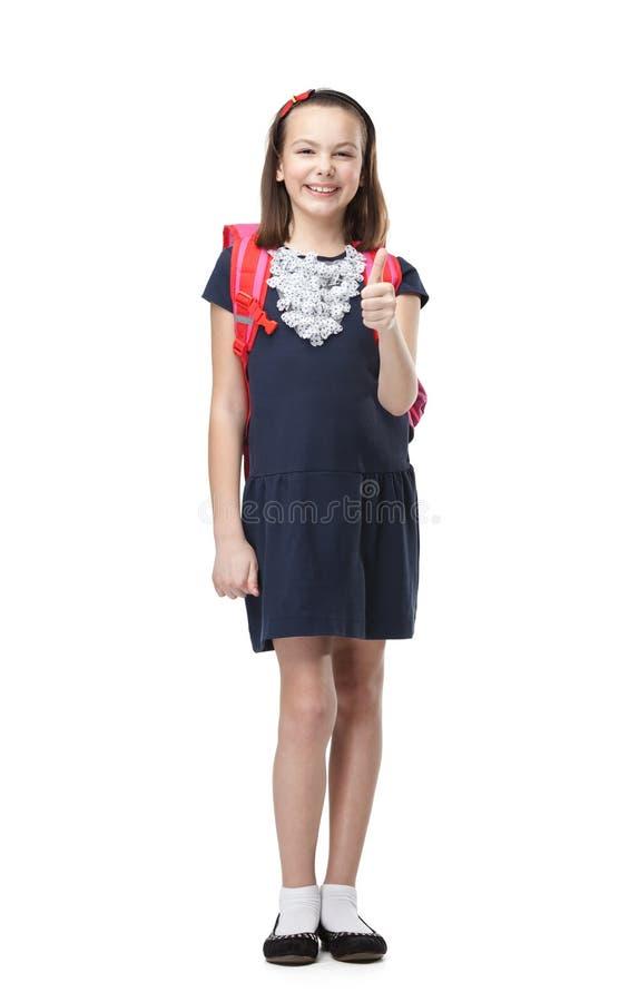 Écolière gaie avec la serviette image libre de droits
