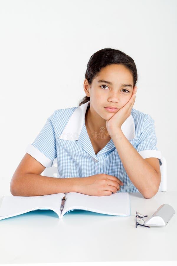Écolière pensive images libres de droits