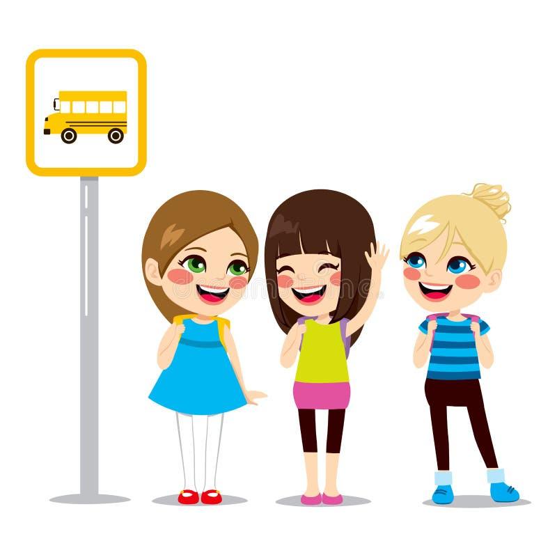 Écolières attendant l'arrêt d'autobus illustration de vecteur