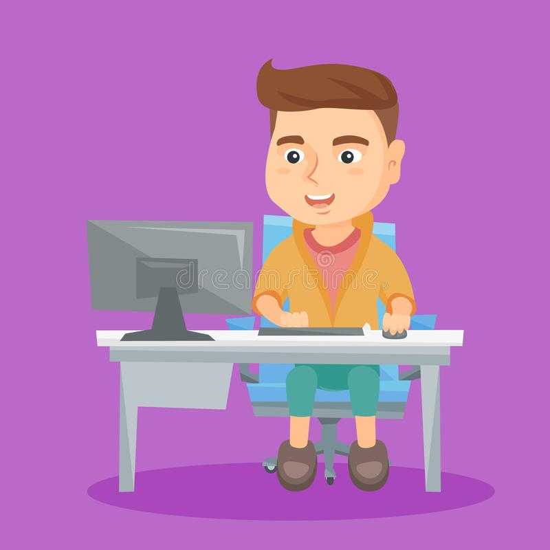 Écolier caucasien travaillant sur un ordinateur à la maison illustration libre de droits