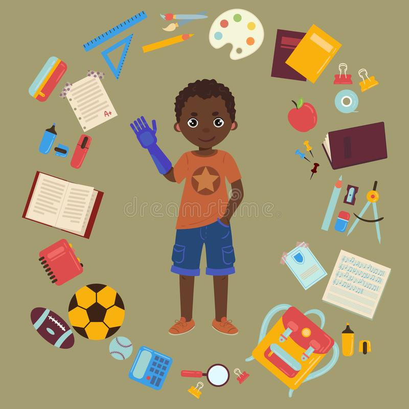 Écolier handicapé avec le prothesis et les fournitures scolaires de bras illustration stock