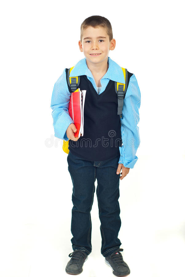 Écolier heureux avec des cahiers photos stock