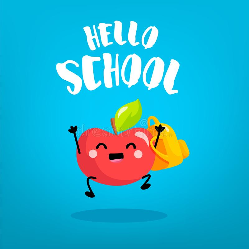 Écolier heureux de pomme de bande dessinée avec le sac à dos sur le fond bleu De nouveau à la carte d'école Vecteur illustration libre de droits