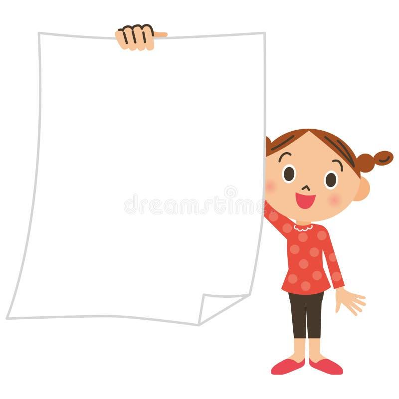 Écolier primaire, fille, papier illustration libre de droits