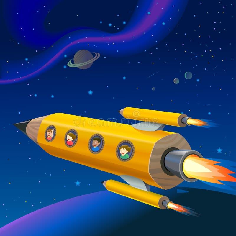 Écoliers appréciant la conduite de l'espace de Rocket de crayon illustration libre de droits
