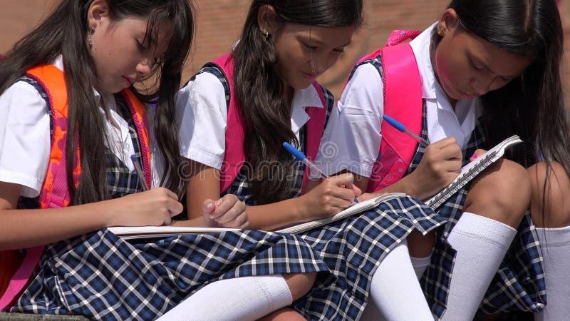 Écoliers catholiques écrivant les uniformes scolaires de port photographie stock libre de droits