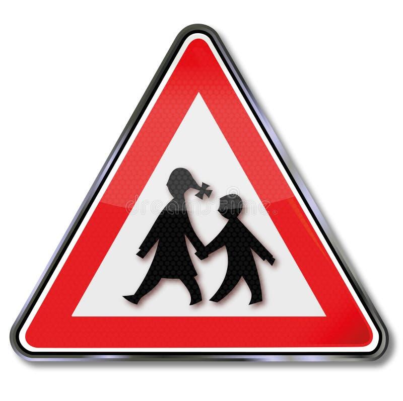Écoliers d'avertissement illustration stock