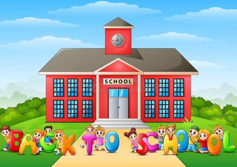 Écoliers heureux tenant le ` de mots de nouveau au ` d'école devant le bâtiment scolaire illustration stock