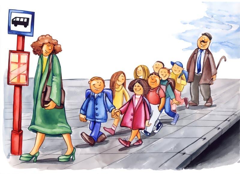 Écoliers polis sur l'arrêt de bus illustration de vecteur