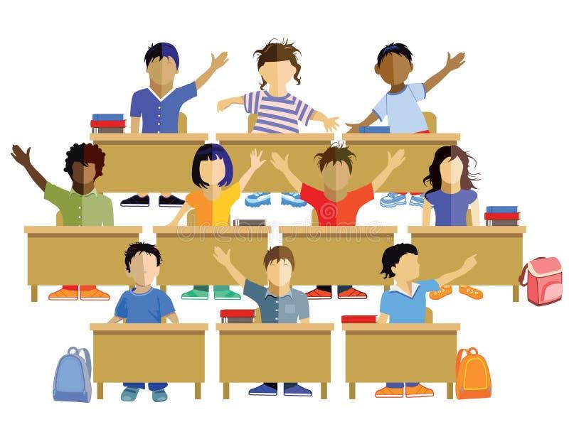 Écoliers s'asseyant à leurs bureaux illustration libre de droits