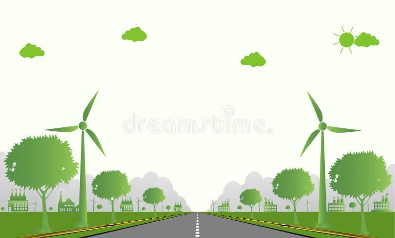 Écologie d'usine, icône d'industrie, turbines de vent avec des arbres et énergie propre du soleil avec des idées qui respecte l'e illustration libre de droits