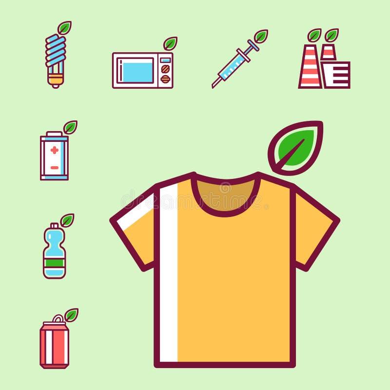 Écologie de rebut de pollution de déchets réutilisant l'illustration réglée de déchets d'enlèvement des ordures de concept d'éner illustration stock