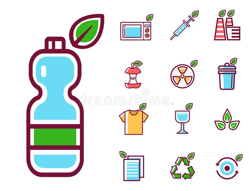 Écologie de rebut de pollution de vecteur de déchets réutilisant l'illustration réglée de déchets d'enlèvement des ordures de con illustration libre de droits