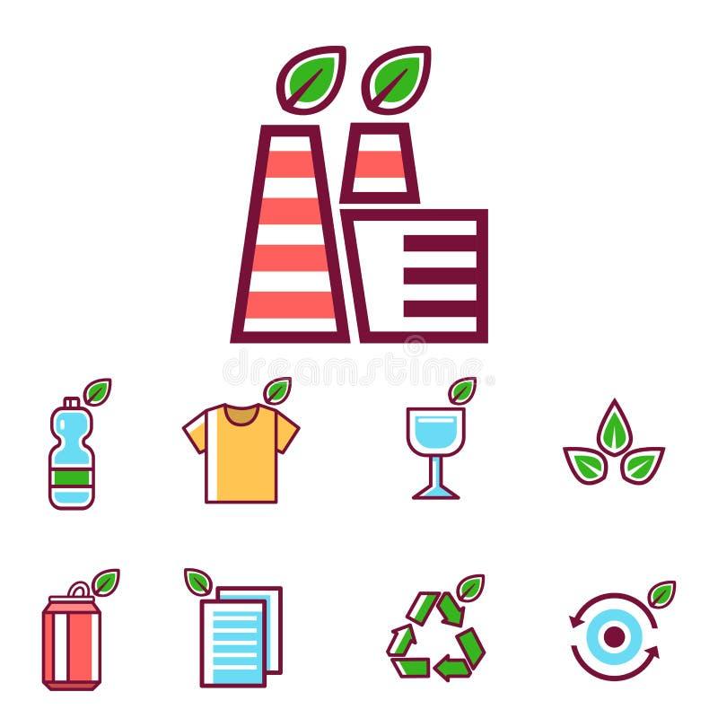 Écologie de rebut de pollution de vecteur de déchets réutilisant l'illustration réglée de déchets d'enlèvement des ordures de con illustration stock