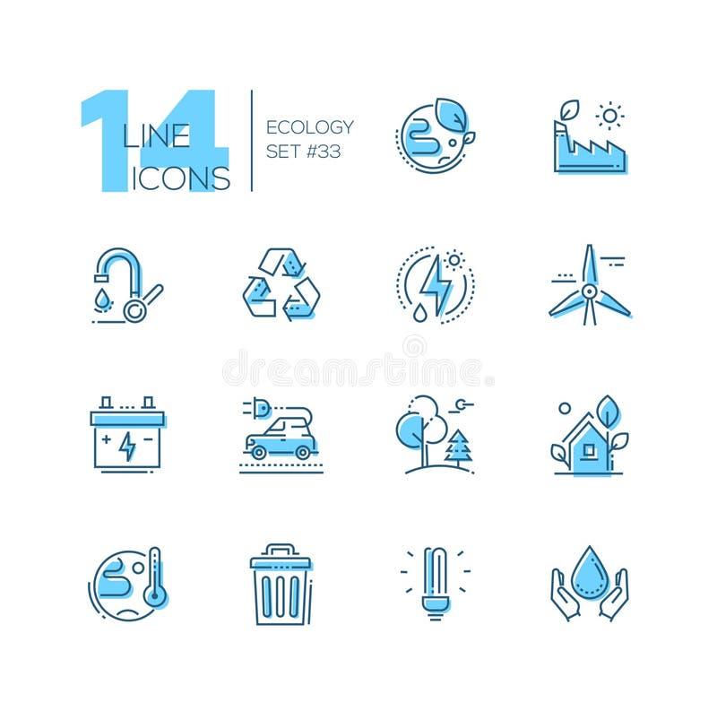 Écologie - ensemble de ligne icônes de style de conception