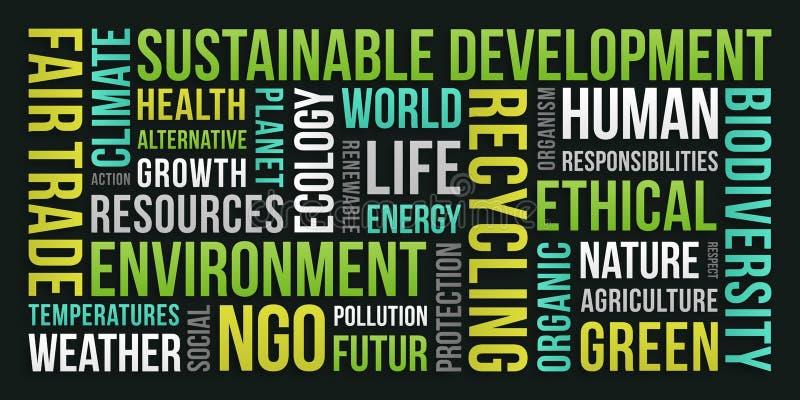 Écologie, environnement, développement durable - nuage de Word illustration stock