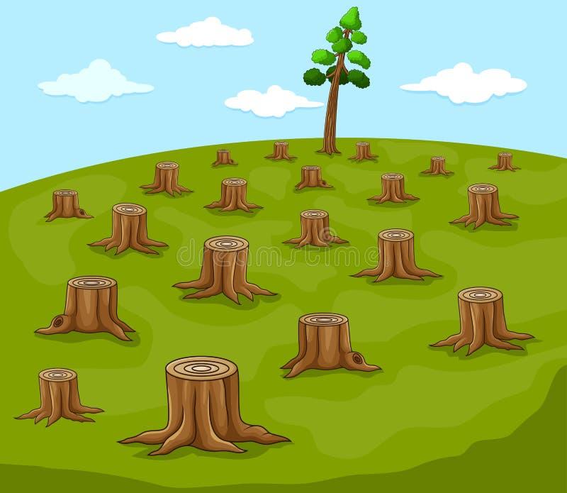 Écologie et exploitation de l'arbre de coupe dans la forêt illustration libre de droits