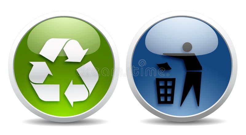 Écologie et signes de réutilisation illustration de vecteur