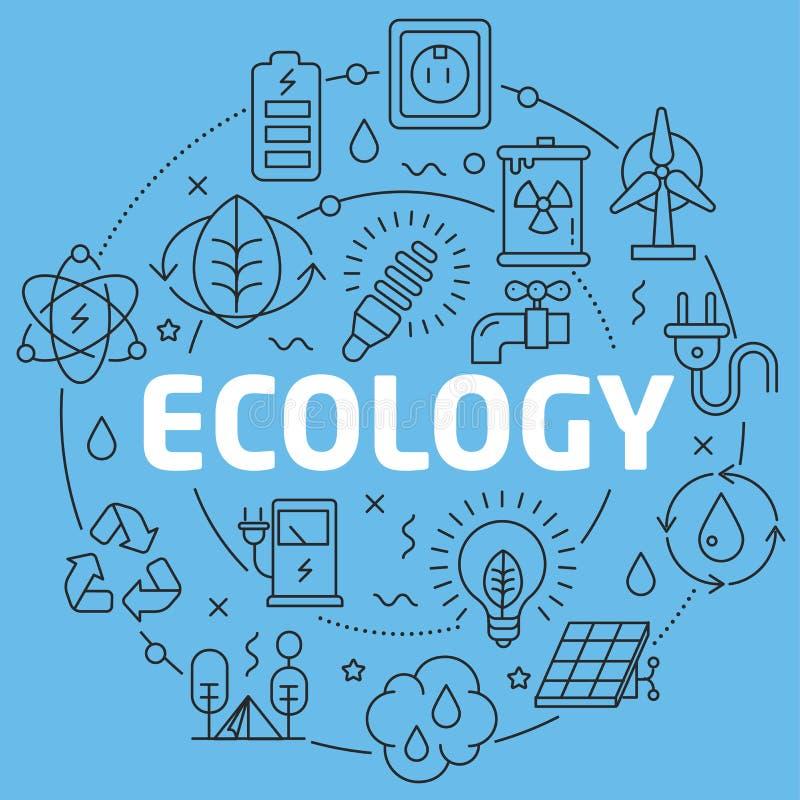 Écologie plate d'illustration de cercle de Blue Line illustration libre de droits