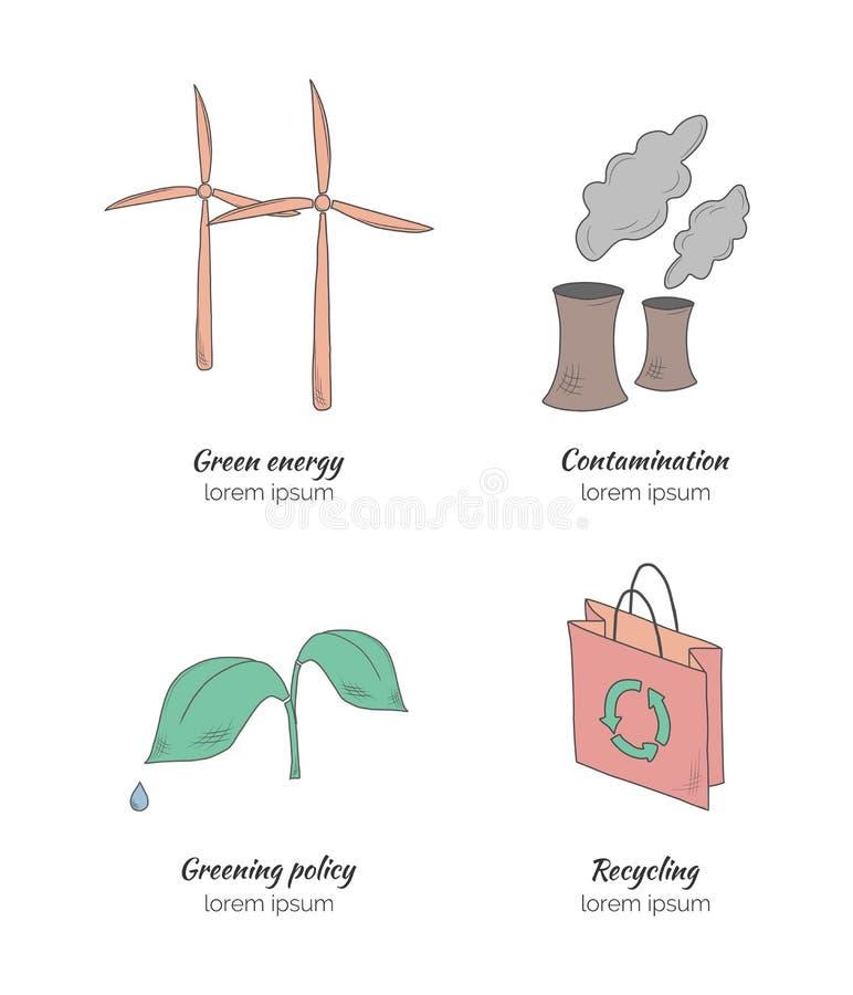 Écologie tirée par la main photographie stock libre de droits