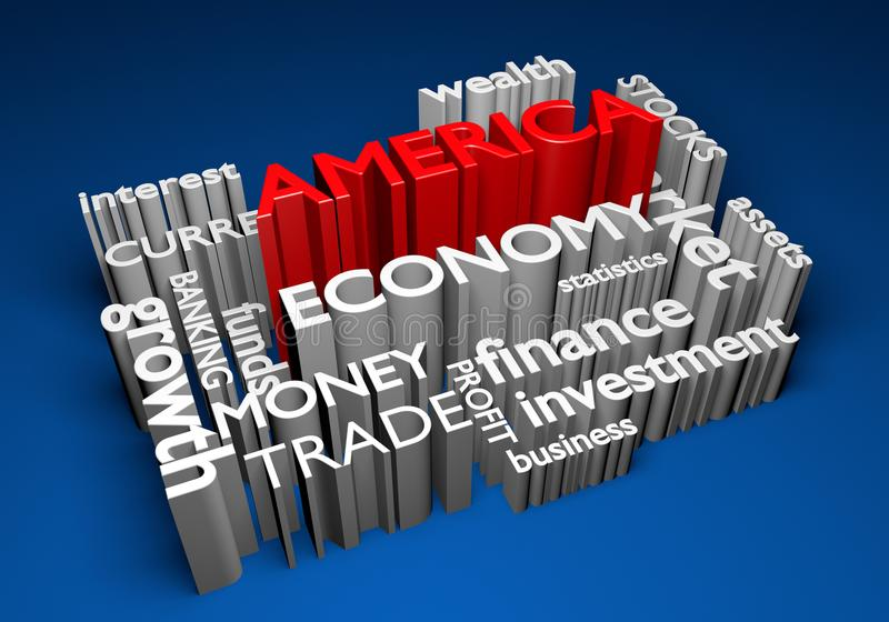 Économie de l'Amérique et participations pour la croissance de PIB, rendu 3D illustration libre de droits