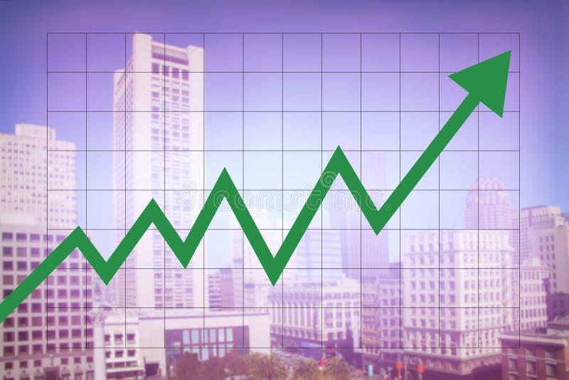 Économie de marché de l'immobilier avec l'augmentation de graphique image stock