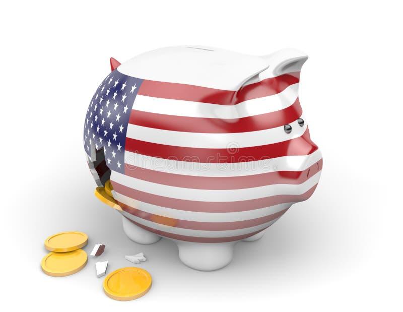 Économie des Etats-Unis et concept de finances pour la crise du chômage et de dette nationale illustration de vecteur