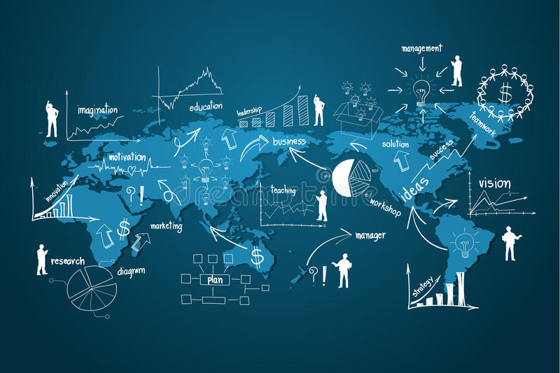 Économie moderne d'affaires globales de vecteur illustration libre de droits