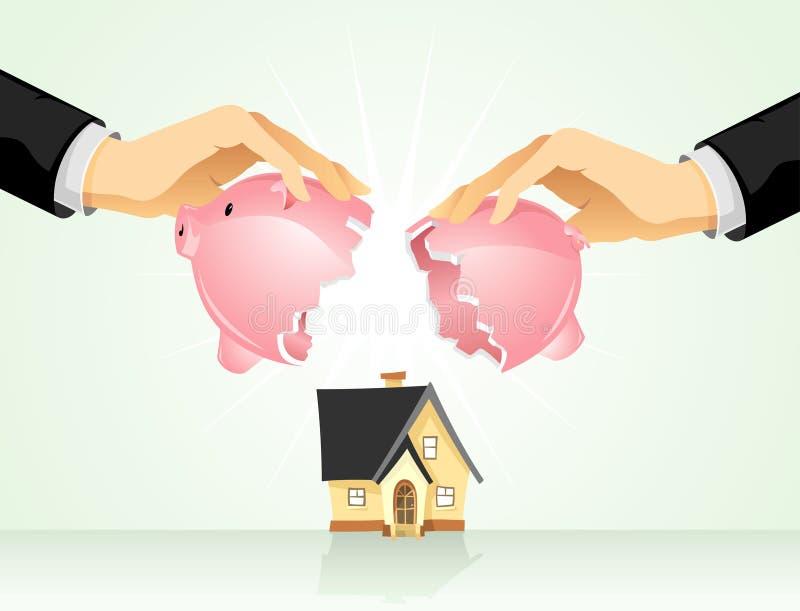 Économie pour l'achat à la maison illustration de vecteur