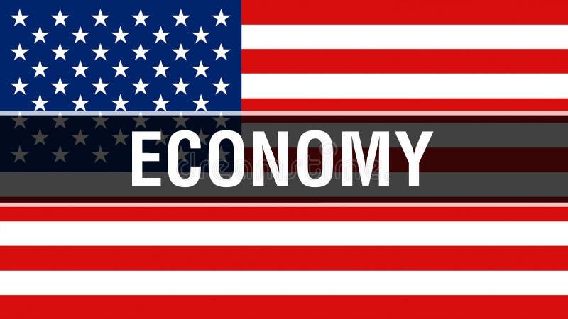 Économie sur un fond de drapeau des Etats-Unis, rendu 3D Drapeau des Etats-Unis d'Amérique ondulant dans le vent Drapeau américai illustration libre de droits