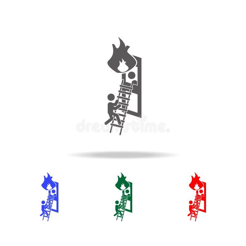 Économies de sapeur-pompier d'une icône du feu Éléments des icônes colorées multi de sapeur-pompier Icône de la meilleure qualité illustration de vecteur