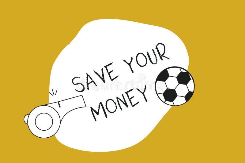 Économies des textes d'écriture votre argent La signification de concept maintiennent votre épargne dans la banque ou les actions illustration de vecteur