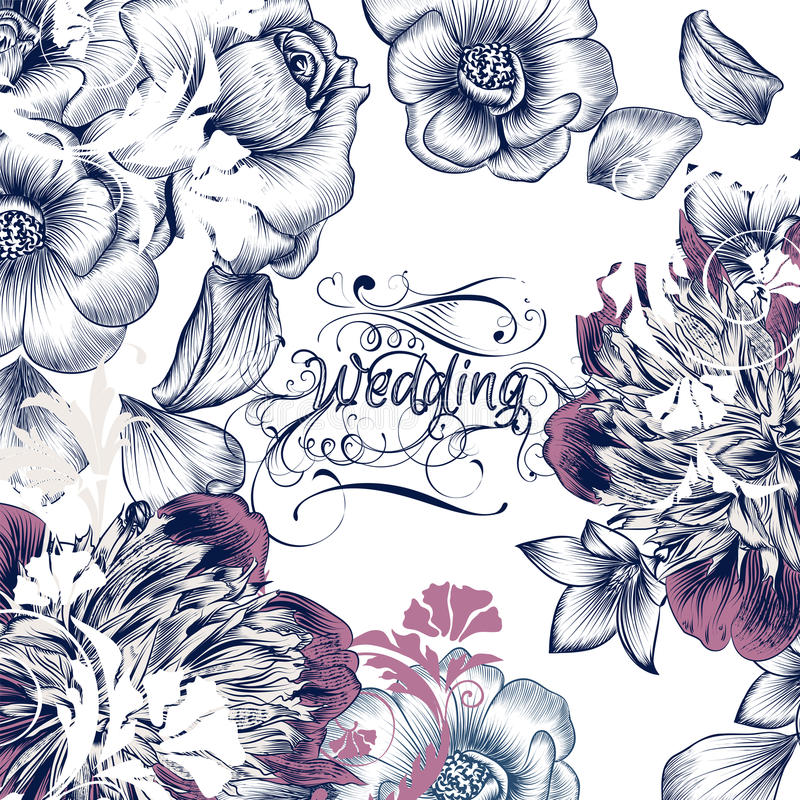 Économies florales de carte d'invitation de mariage la date dans des WI de style de vintage illustration de vecteur