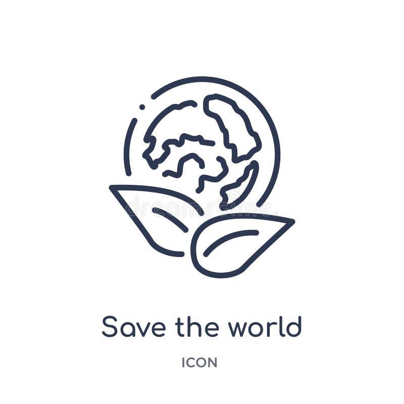 Économies linéaires l'icône du monde de la collection d'ensemble d'écologie Ligne mince sauf le vecteur du monde d'isolement sur  illustration stock