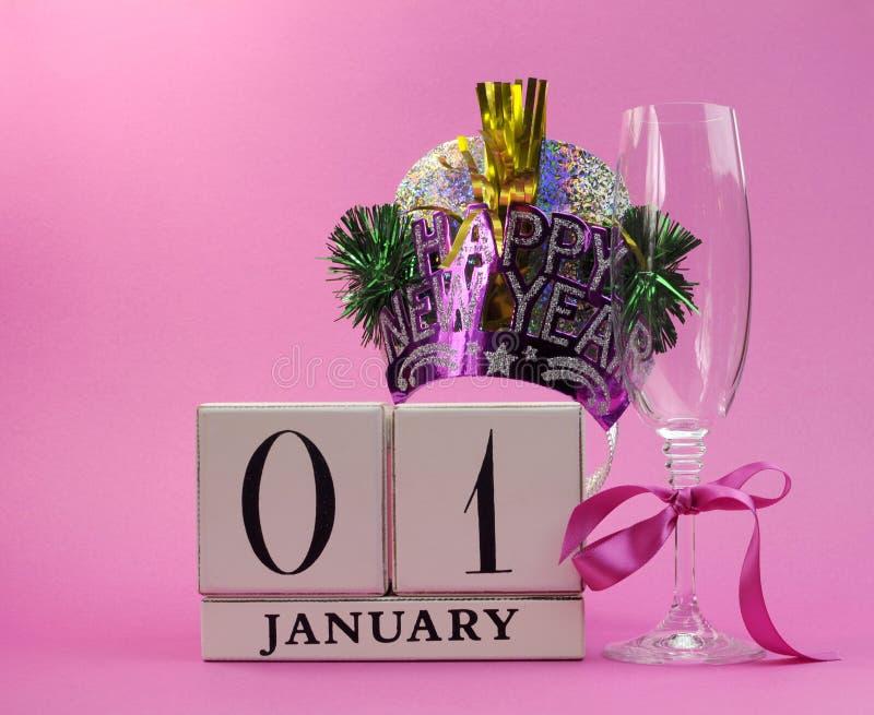Économies roses de thème la date avec une bonne année, 1er janvier images stock