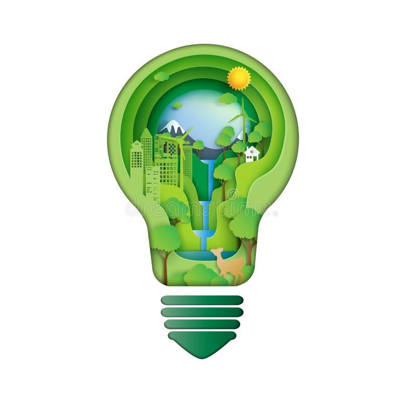Économisez l'énergie pour la conservation d'environnement illustration stock