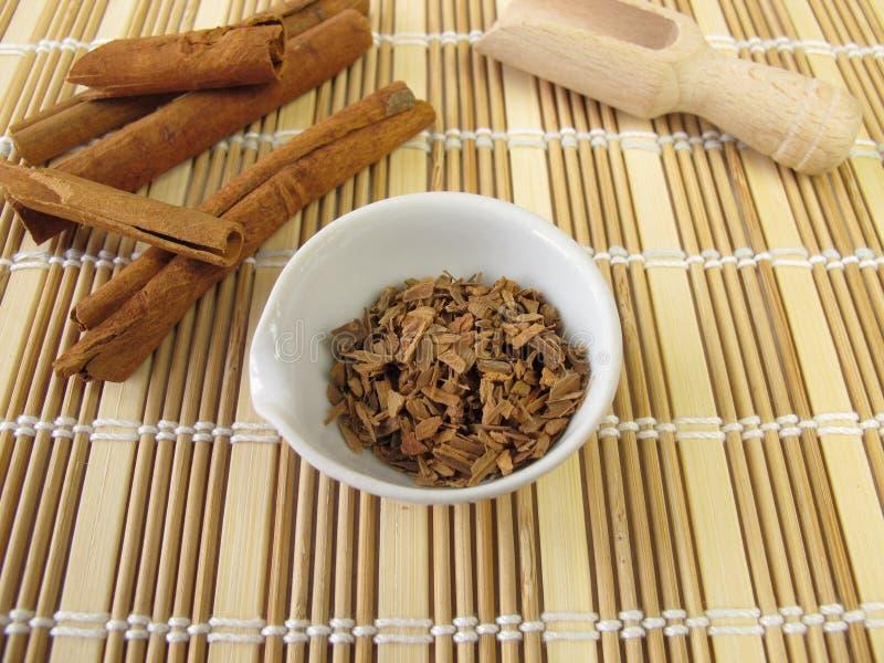 Écorce de cannelle, cortex de Cinnamomi photographie stock