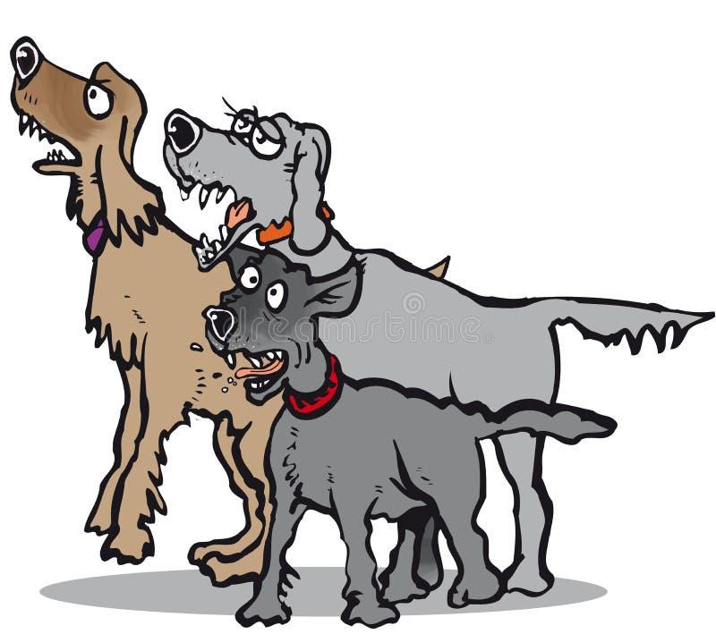 Écorcement de trois chiens illustration stock