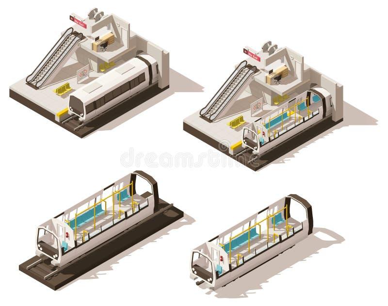 Écorché isométrique de station de métro de vecteur bas poly illustration libre de droits