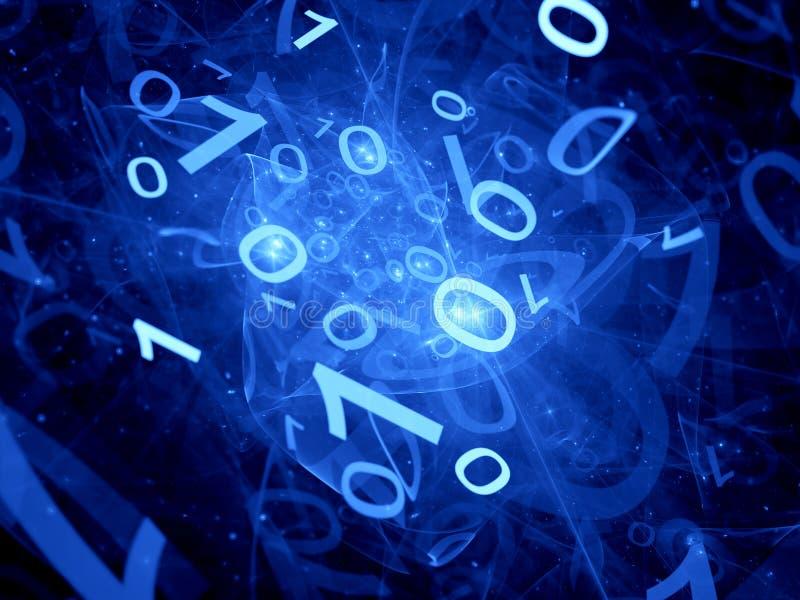 Écoulement binaire rougeoyant de grandes données dans l'espace illustration libre de droits