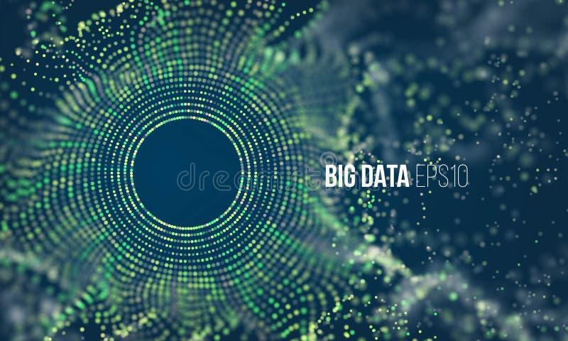 Écoulement coloré abstrait de grille de particules avec le bokeh La poussière de la Science avec le fond de lueur Visualisation f illustration stock