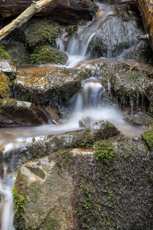 Écoulement d'eau de courant de montagne avec de la mousse verte sur les roches humides Cascade de rivière avec les pierres énorme images stock